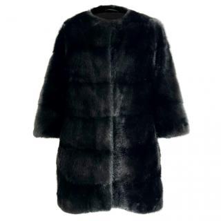 Sprung Freres Plume Collection Black Mink Fur Coat