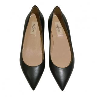 Valentino Black Smooth Leather Pointed Toe Ballerinas