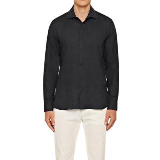 Orlebar Brown Black Cutaway Collar Linen Tailored Fit Shirt