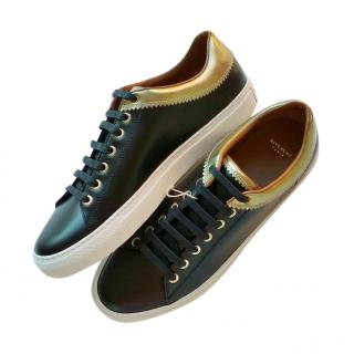 Givenchy Black & Gold Leather Low-Top Sneakers