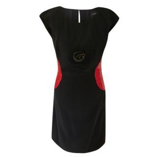 Chanel Navy & Red Embellished Shift Dress