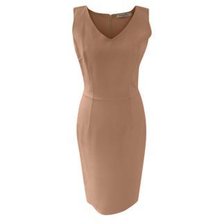 Christian Dior Vintage Beige Cashmere Sleeveless Dress