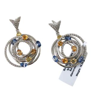 Bespoke 18ct White Gold Sapphire & Diamond Pendant Earrings