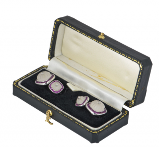 Harrods White Gold Square Cufflinks