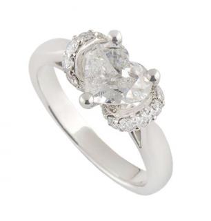Bespoke White Gold Heart Cut Diamond Ring