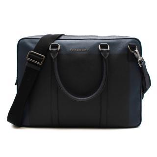 Burberry Blue Colourblock Grained Leather Briefcase