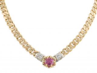 Bespoke 18kt Yellow Gold Ruby & Diamond Chain Necklace