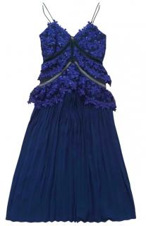 Self Portrait Blue Floral Crochet Pleated Embellished Dress