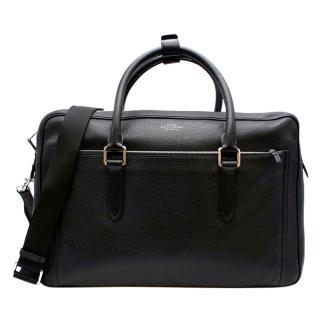 Smythson Black Leather Burlington 24 Hour Travel Bag