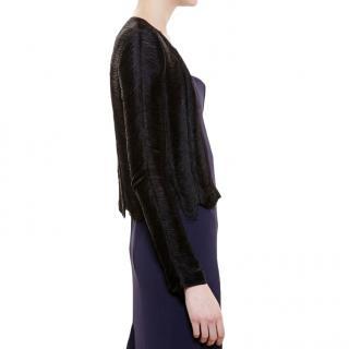 Galvan Black Fringe Silk-Georgette Jacket