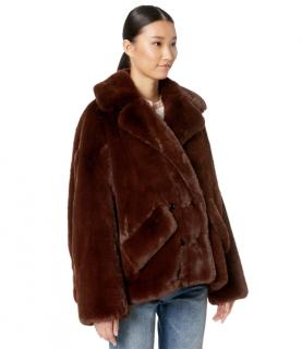 The Kooples Chocolate Brown Faux Fur Coat