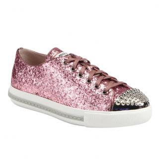 MIu Miu Pink Glitter Studded Trainers