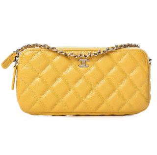Chanel Caviar Calfskin Yellow Small Clutch with Chain