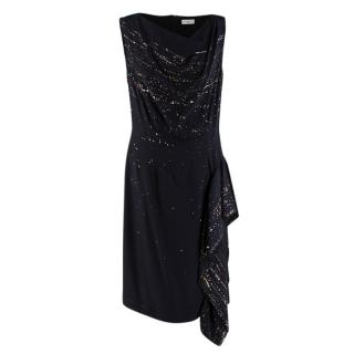 Dries Van Noten Black Print Silk Ruffled Dress