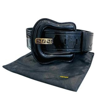 Fendi Patent leather Black Oversized Buckle Belt