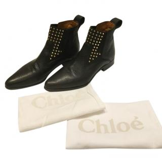 Chloe Black Studded Grained Leather Ankle Boots