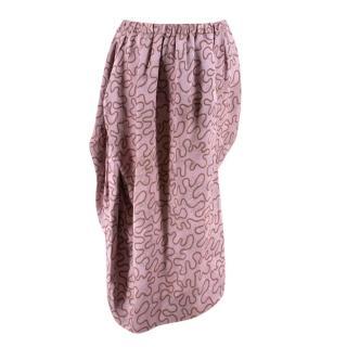 Vivienne Westwood Pink Printed Satin Asymmetric Draped Skirt