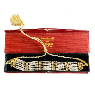 Amrapali 18kt Gold Freshwater Pearl & Sapphire Self-Tie Choker