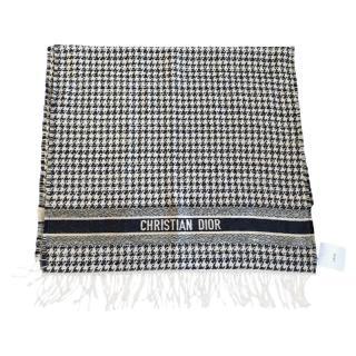 Dior Houndstooth Fringed Wool & Silk Blend Blanket Scarf 230cm x 70cm