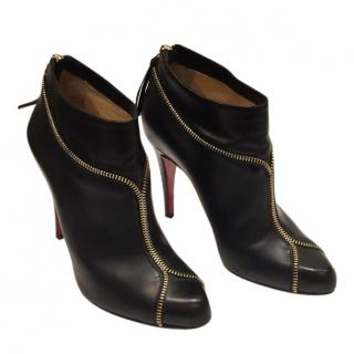 Christian Louboutin Black Leather Zippee Ankle Boots