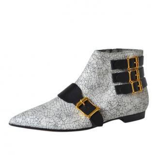 Rupert Sanderson Crackled Leather Ankle Boots