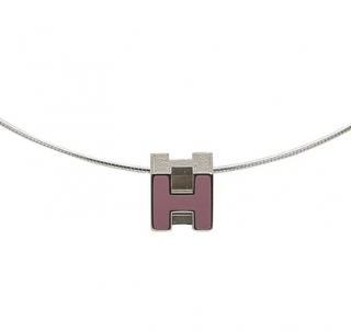 Hermes Pink Enamel Cage d'H Cube Necklace PHW