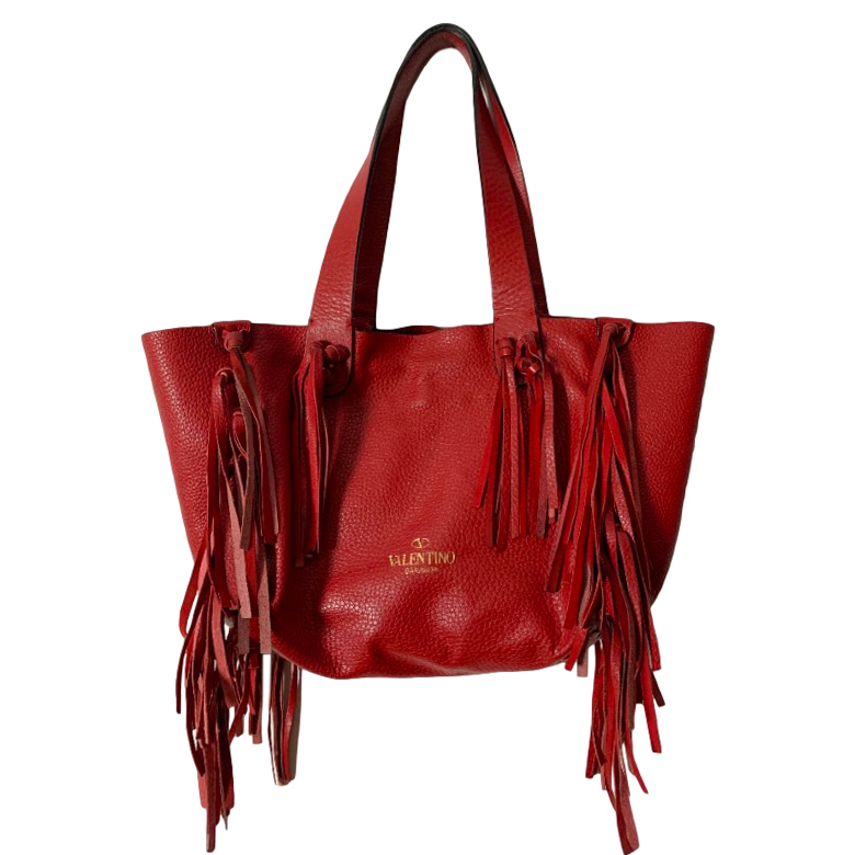 Valentino Red Grained Leather C-Rockee Tote Bag