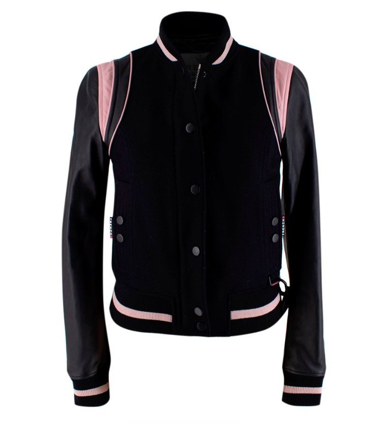 Trench London Black & Pink Wool & Leather Bomber Jacket