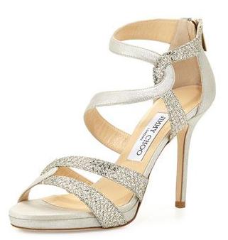 Jimmy Choo Tomar Strappy Glitter Champagne Sandal