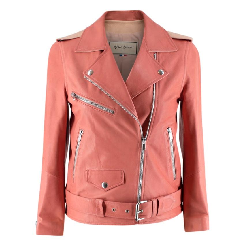 Alice Balas Pink Paneled Lambskin Biker Jacket