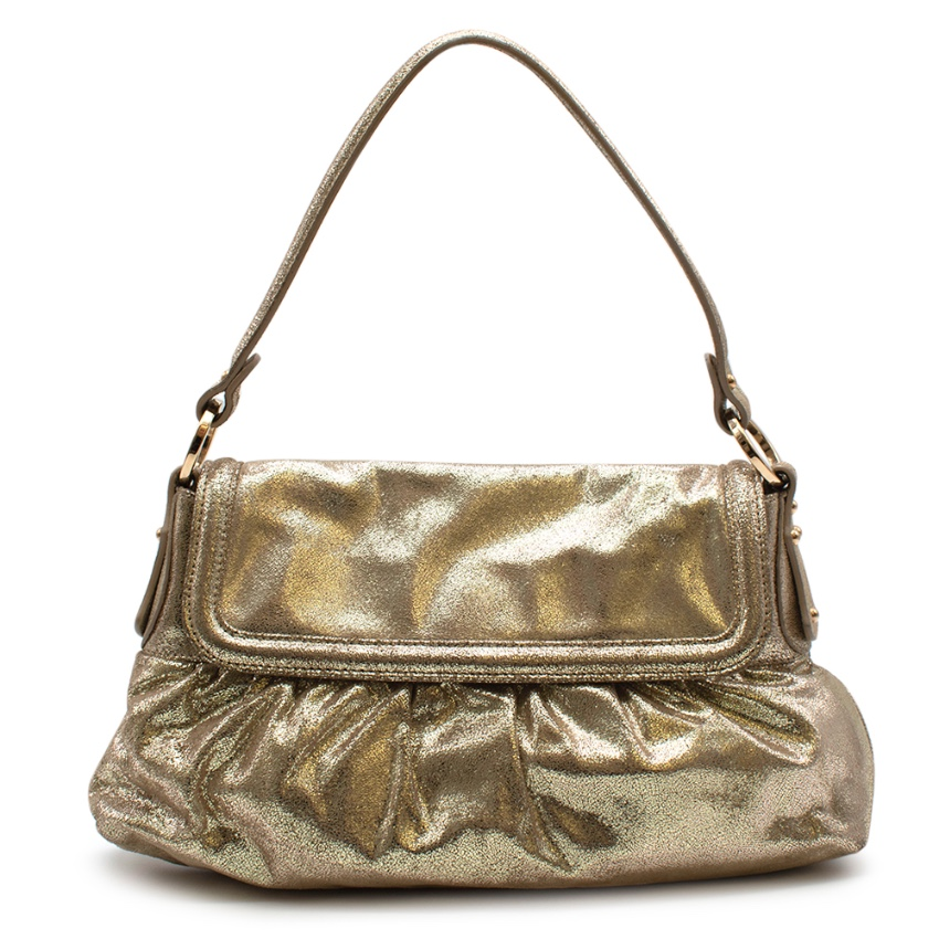 Fendi Gold Suede Vintage Flap Bag