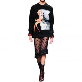Givenchy Runway Black Silk Georgette Applique Skirt
