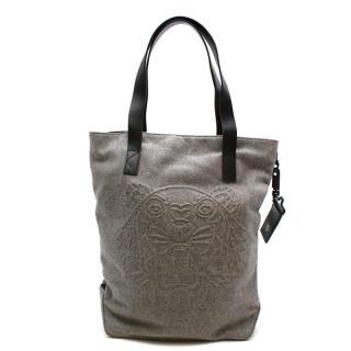 Kenzo Grey Wool & Leather Tiger Textured Tote Bag