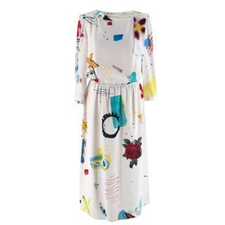 Marc Jacobs White Collage Print Silk Dress
