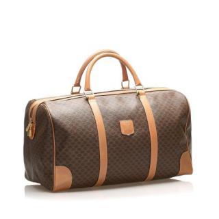 Celine Brown Coated Canvas Macadam Travel Bag
