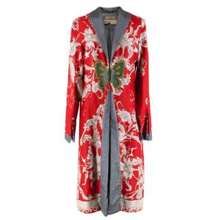 Voyage Red Linen Floral Butterfly Patch Vintage Coat