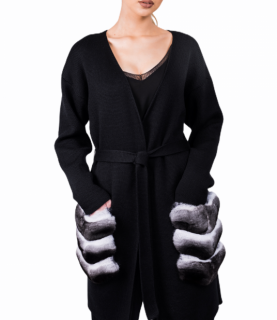 FurbySD Black Merino Wool Cardigan with Chinchilla Fur Pockets