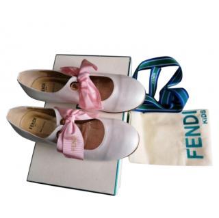 Fendi Kids White Leather Ribbon Tie Pumps