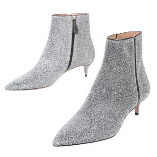 Aquazzura Gilttery Silver Leather 50mm Ankle Boots