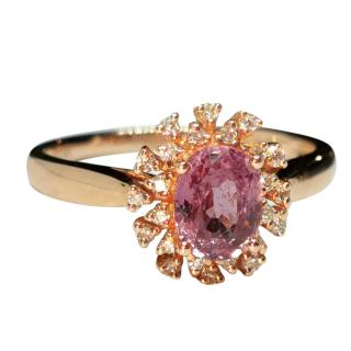 Victoria London 18ct Rose Gold Diamond & Natural Sapphire Cluster Ring