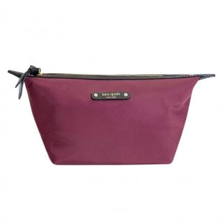 Kate Spade Burgundy Canvas Make-Up Bag