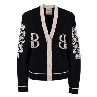 Barrie Two-Tone Monogram Cashmere Cardigan