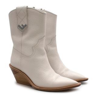 Fendi Runway White Leather Western Boots