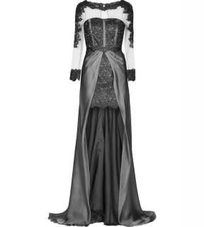 Blumarine Black Lace Embroidered High-Low Tulle Panelled Corset Gown