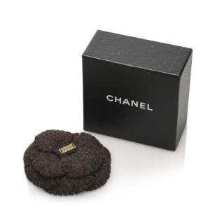 Chanel felted wool camellia logo bar pin brooch