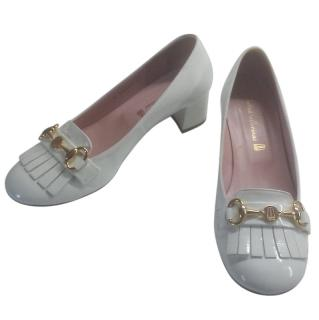 Pretty Ballerinas White Patent Leather Fringed Loafers
