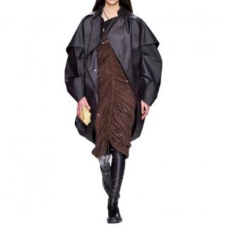 Bottega Veneta Runway Brown Coated Cotton Cocoon Cape