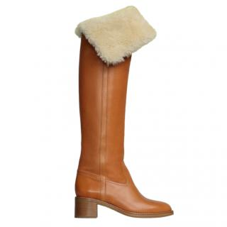 Celine Runway Tan Leather Shearling Lined Long Boots
