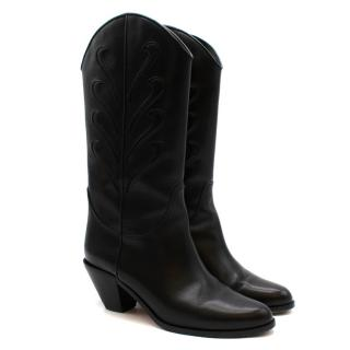 Francesco Russo Black Leather Western Inspired Boots