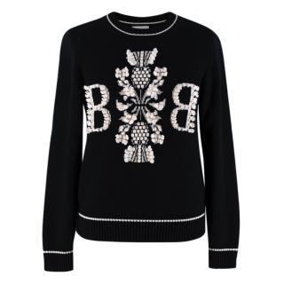 Barrie Two-Tone Monogram Cashmere Sweater